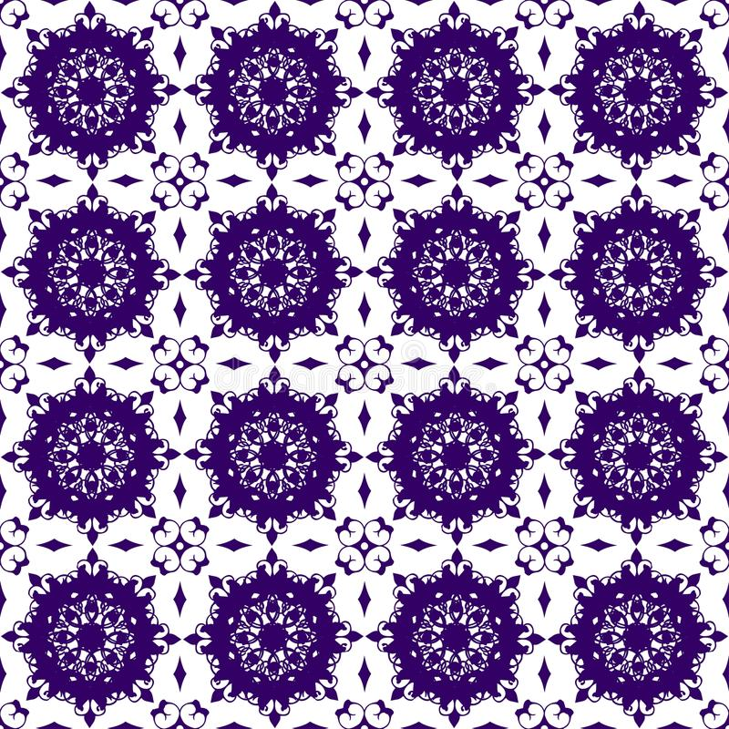 Sier Oosters Blauw Purper Violet Floral Beautiful Royal Vintage-de Textuurbehang van het de Lente Abstract Naadloos Patroon vector illustratie