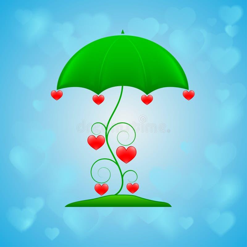 Sier paraplu op blauwe achtergrond vector illustratie