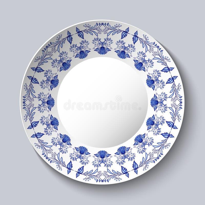 Sier porcellaneous plaat met een blauw patroon in het etnische stijl Chinese schilderen op porselein of Russische stijl Gzhel royalty-vrije illustratie