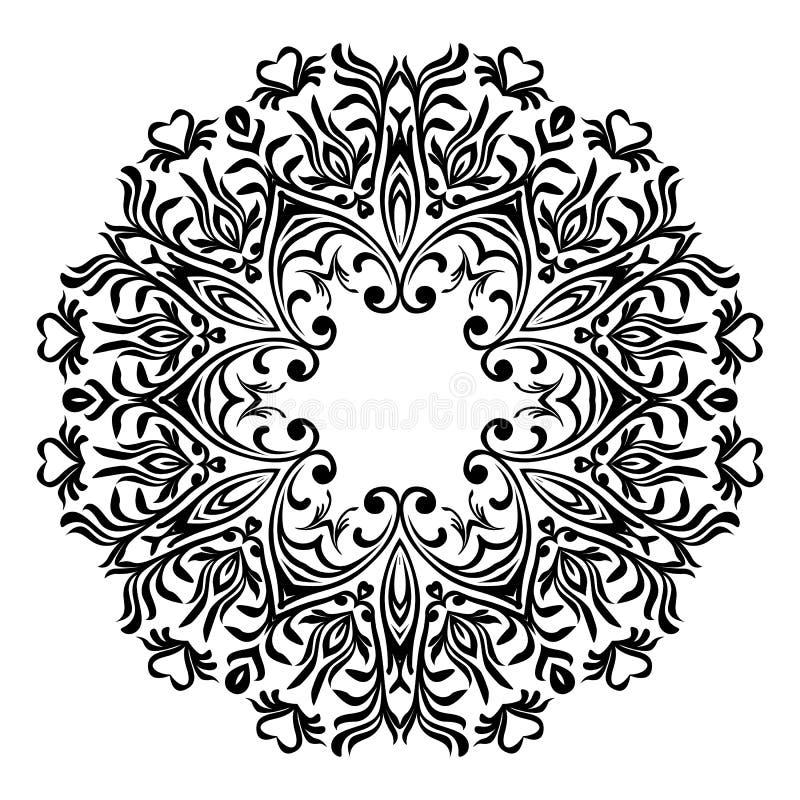 Sier rond bloemenpatroon Ornament met uitstekende elementen Het Servet van het handkant De mooie elegante wijnoogst breide kanten stock illustratie