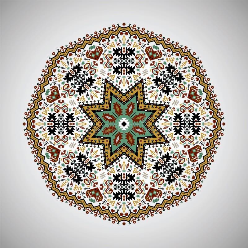 Sier rond kleurrijk geometrisch patroon in Azteekse stijl vector illustratie
