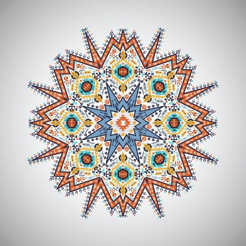 Sier rond kleurrijk geometrisch patroon in Azteekse stijl royalty-vrije illustratie