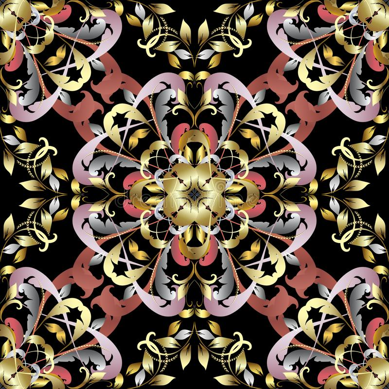 Sier uitstekend 3d vector naadloos patroon Kleurrijk ornament Abstracte bloemendamastachtergrond Uitstekende victorian stijl vector illustratie