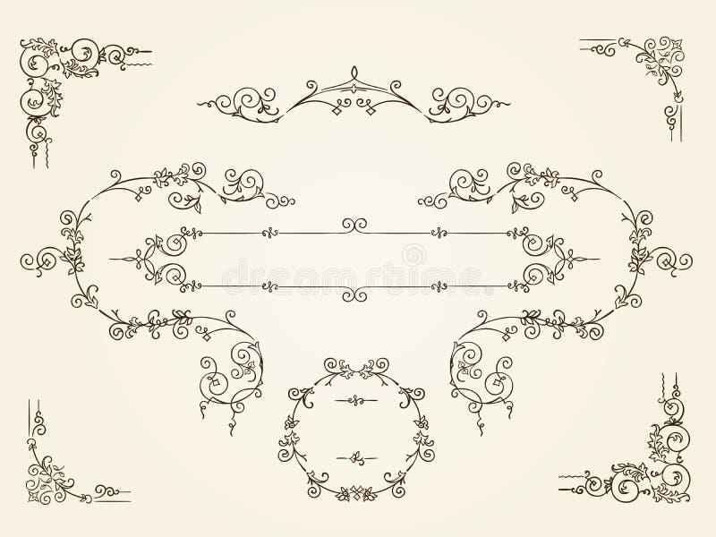 Sier uitstekende rechthoekige grenskaders vector illustratie