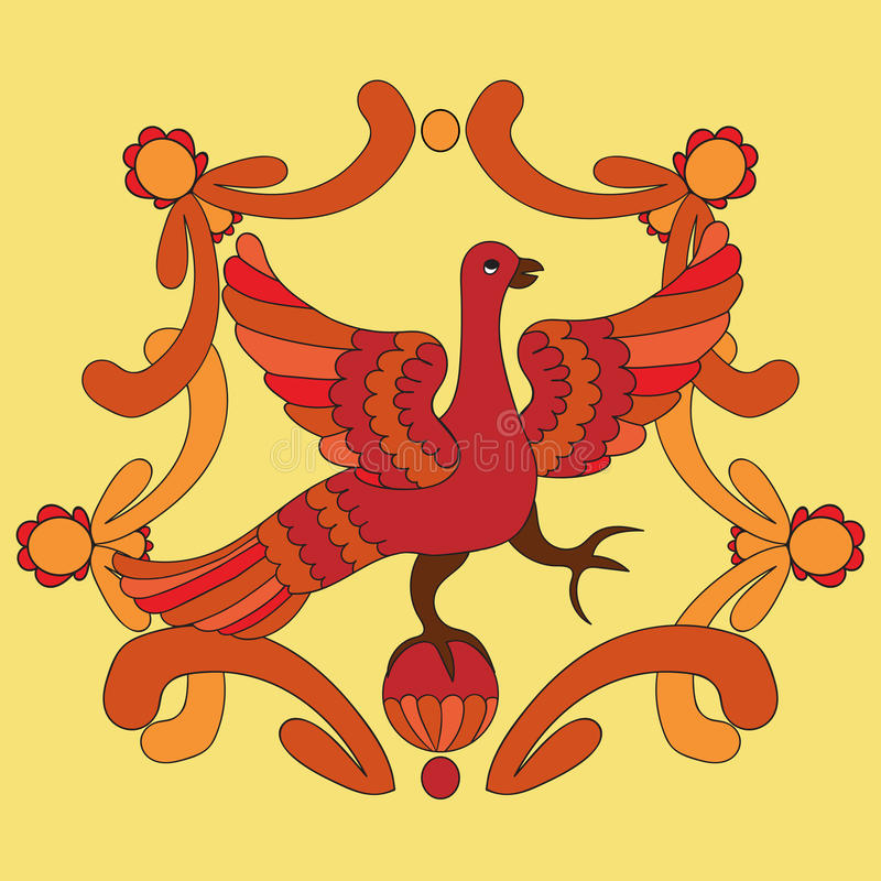 Sier vectorillustratie van mythologische vogel Rood Phoenix stock illustratie