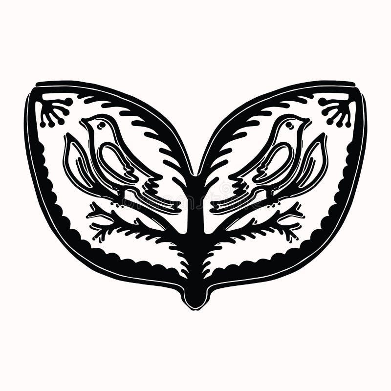 Sier volks de kunstelementen van de bladvogel voor ontwerp Hand getrokken linocut blokafdrukstijl Zwarte folkloristische zangvoge royalty-vrije illustratie