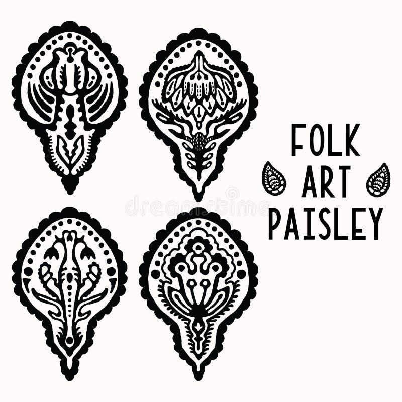 Sier volks de kunstelementen van Paisley voor ontwerpset Hand getrokken linocut blokafdrukstijl Het zwarte folkloristische pictog vector illustratie