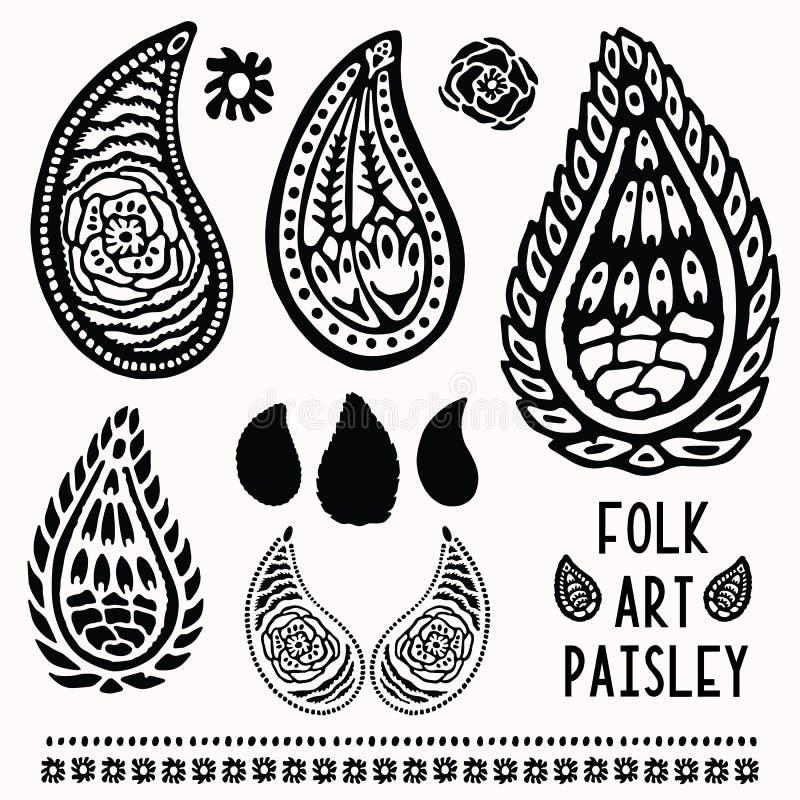 Sier volks de kunstelementen van Paisley voor ontwerpset Hand getrokken linocut blokafdrukstijl Zwarte folkloristische illustrati stock illustratie
