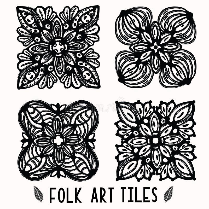 Sier volkskunstelementen voor ontwerpinzameling Hand getrokken linocut blokafdrukstijl Zwarte folkloristische illustratietegel vector illustratie