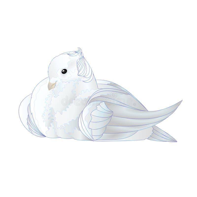Sier witte duif leuke kleine vogel op een witte uitstekende vector editable illustratie als achtergrond royalty-vrije illustratie