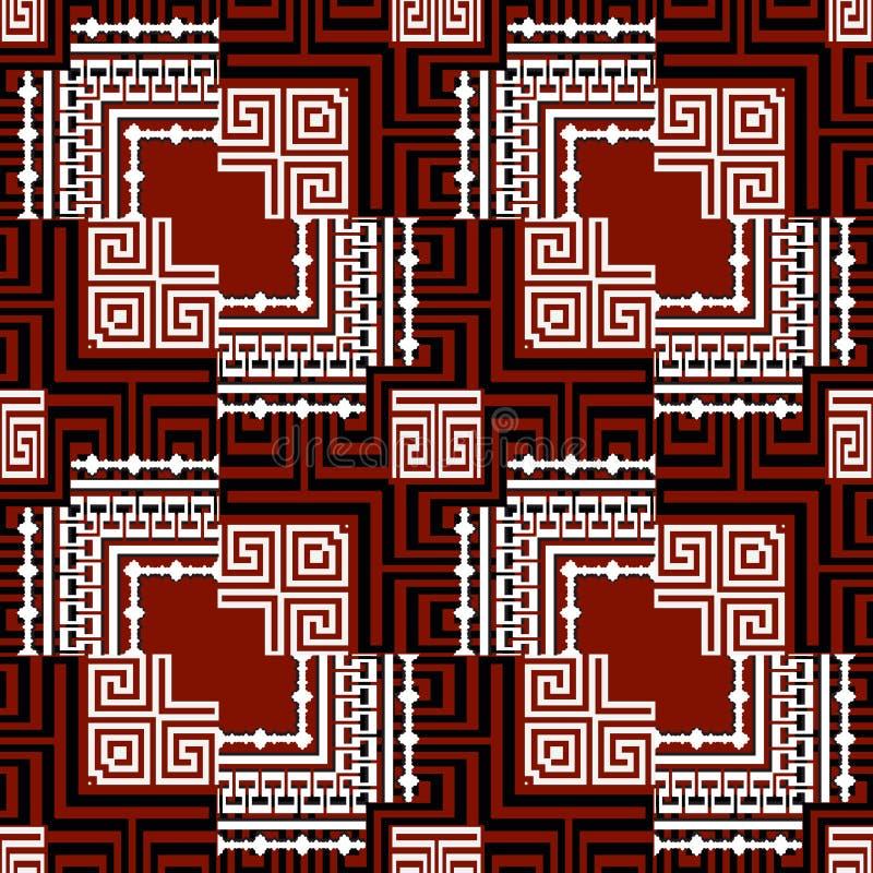 Sier zwart rood wit Grieks vector naadloos patroon Geometrische moderne achtergrond Decoratief herhaal abstracte achtergrond royalty-vrije illustratie
