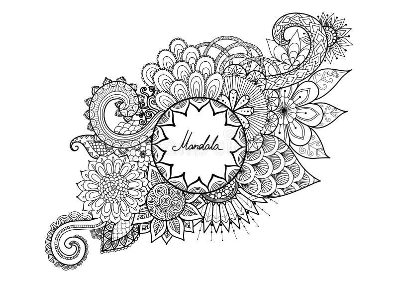 Sierbloemen met exemplaarruimte voor uw tekst voor kleuring, t-shirtontwerp, hoofdkussenontwerp, mokontwerp, zakontwerp etc. stock illustratie