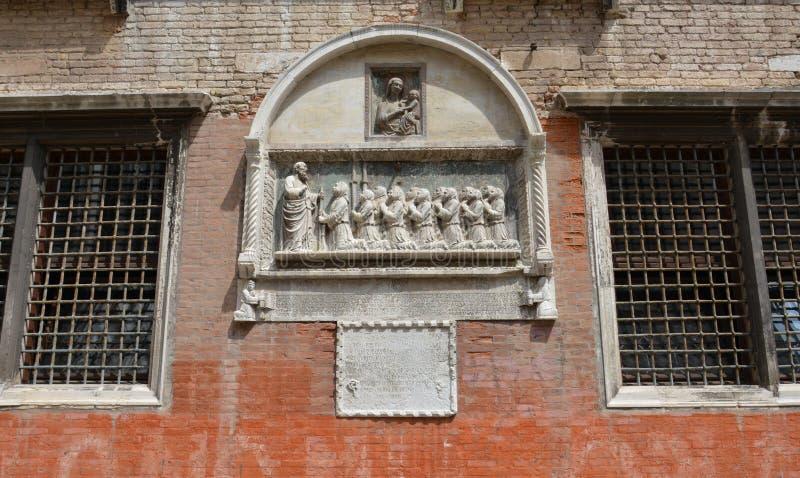 Sierdetail in Venetië, Campiello DE La Scuola vierkant, in Europa royalty-vrije stock afbeelding