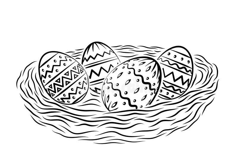 Sierpaaseieren in nest royalty-vrije stock afbeelding