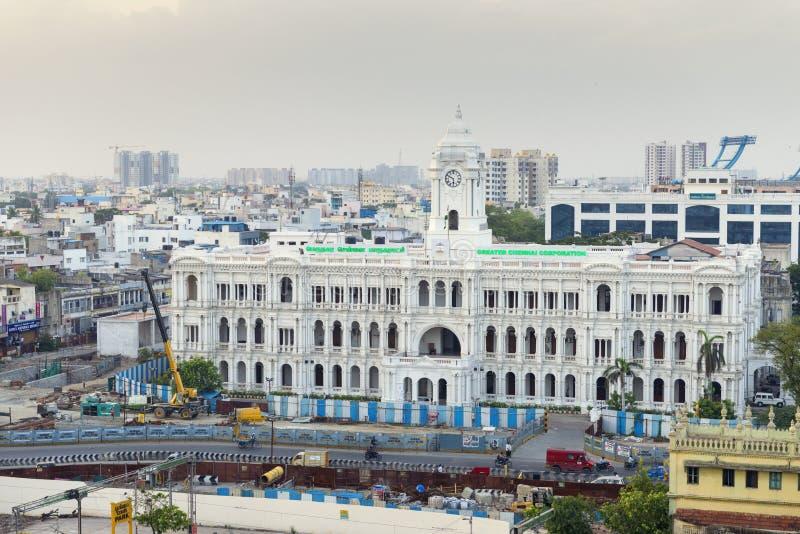 Sierpień 4, 2017 - Chennai, INDIA: Chennai Korporacja Historyczni bu obrazy stock