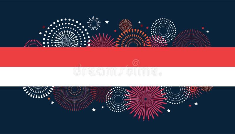 17 Sierpień Indonezja dnia niepodległości Szczęśliwy kartka z pozdrowieniami i plakat fajerwerki na indonezyjczyk flaga tle ilustracja wektor