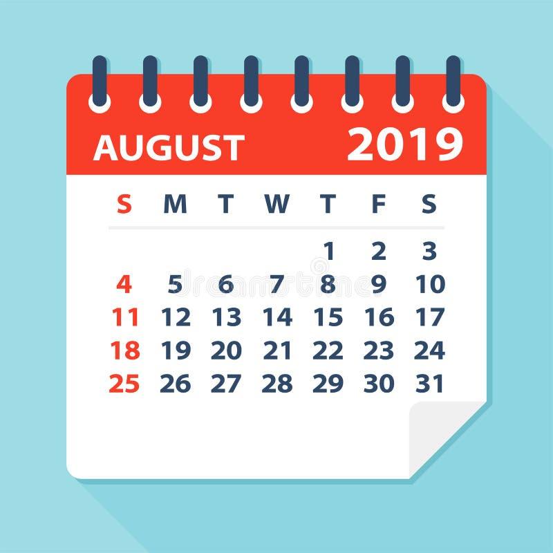 Sierpień 2019 Kalendarzowy liść - Wektorowa ilustracja ilustracja wektor