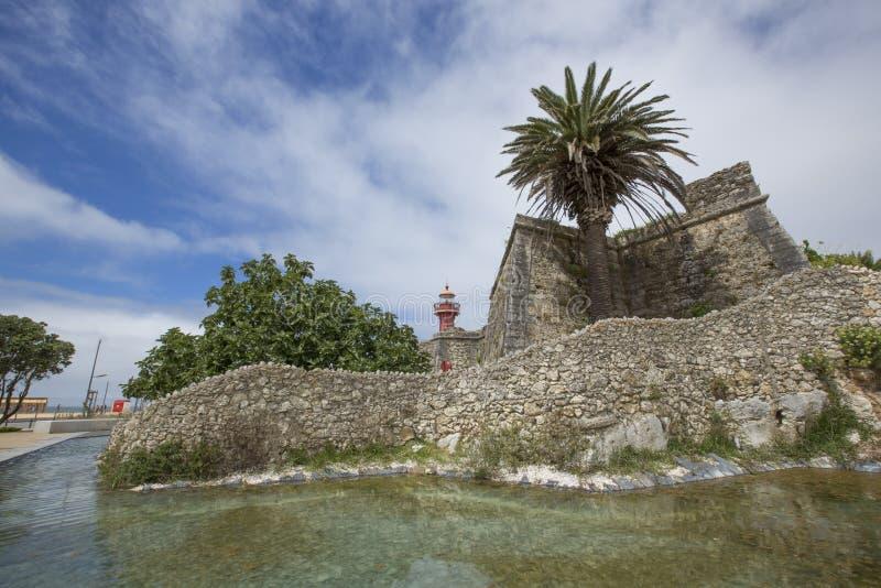 7 2014 SIERPIEŃ Portugalia, SANTA CATARINA latarnia morska W FIGUEIRA DA FOZ - obraz royalty free