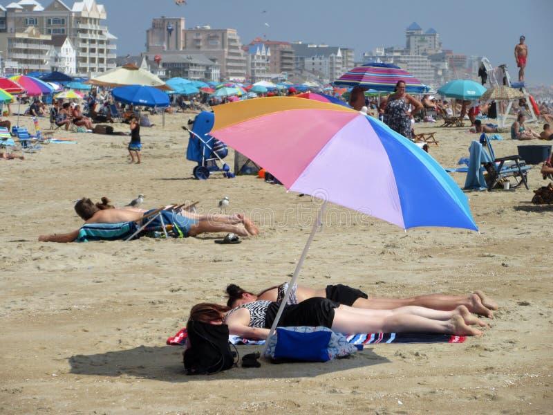Sierpień przy plażą w oceanu mieście obrazy royalty free