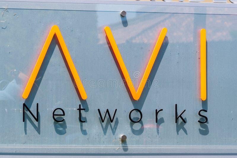 Sierpień 7, 2019 Santa Clara, CA, usa/- AVI sieci podpisują przy ich biurami w Krzemowa Dolina; Na Czerwcu 13, 2019, VMware ogłas fotografia royalty free