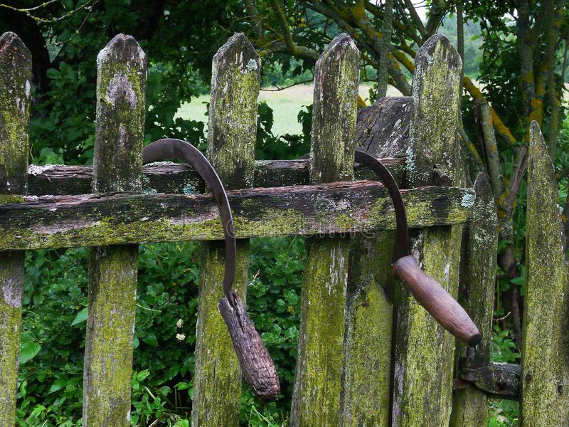 Sierpy na ogrodzeniu obrazy stock