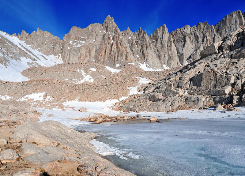 The Sierra Crest over Frozen Lake. Mount Whitney on Main Trail at Trail Camp stock photos
