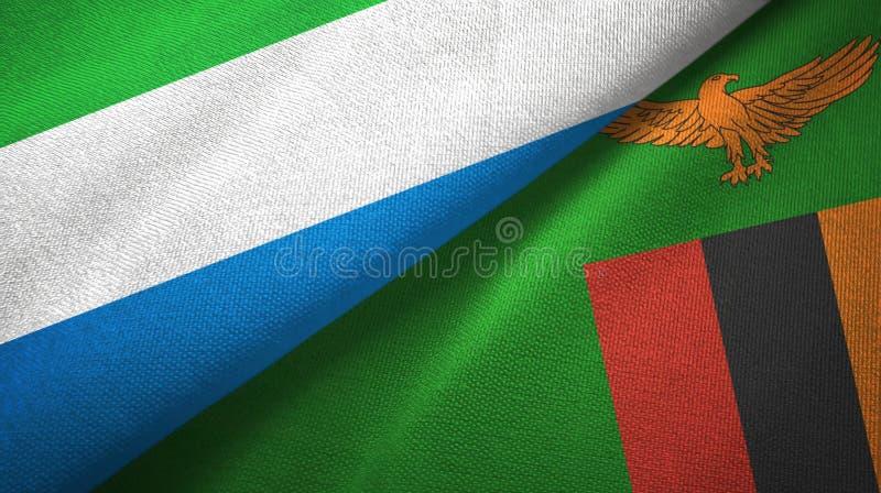 Sierra Leone και Ζάμπια δύο υφαντικό ύφασμα σημαιών, σύσταση υφάσματος στοκ φωτογραφίες