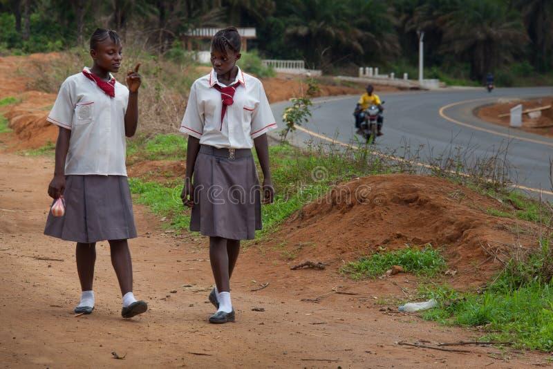 Sierra Leone, Africa occidentale, il villaggio di Yongoro fotografia stock