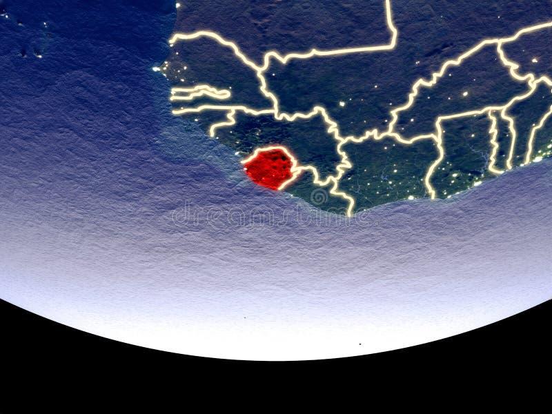 Sierra Leone bij nacht van ruimte royalty-vrije stock afbeelding