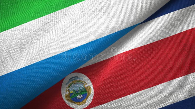 Sierra Leone and Costa Rica two flags textile cloth, fabric texture vector illustration