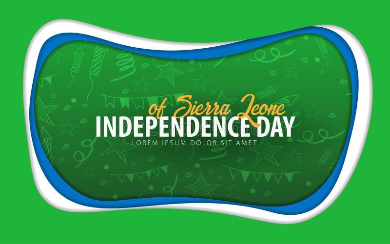 Sierra Leone Dnia Niepodległości kartka z pozdrowieniami papieru cięcia styl ilustracja wektor