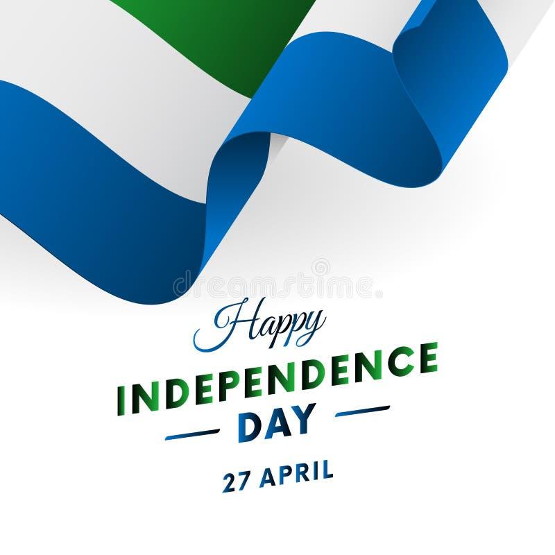 Sierra Leone dzień niepodległości 27 Kwiecień Machać flaga w sercu wektor ilustracja wektor