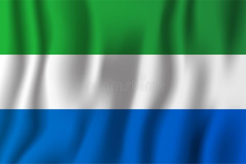 Sierra Leone falowania flaga wektoru realistyczna ilustracja Krajowy kraju tła symbol tła dzień grunge niezależność retro ilustracji