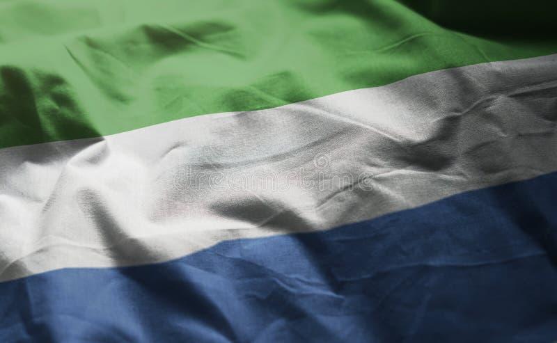 Sierra Leone Flag Rumpled Close Up fotografía de archivo
