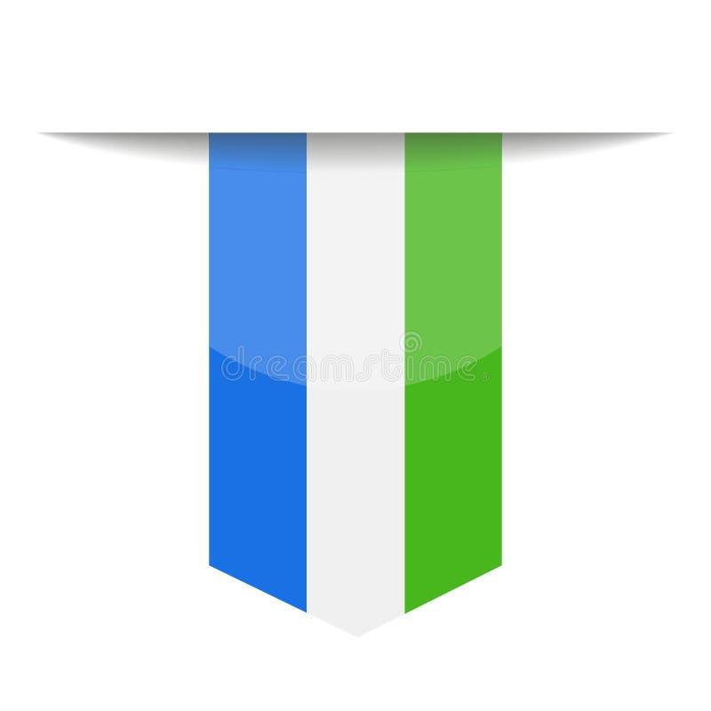Sierra Leone Flag Vector Bookmark Icon stock de ilustración