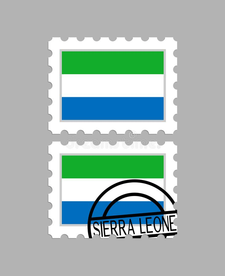 Sierra leone flaga na znaczku pocztowym ilustracji