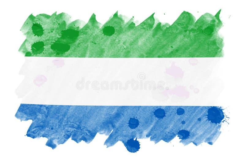 Sierra Leone flaga przedstawia w ciekłym akwarela stylu odizolowywającym na białym tle ilustracji