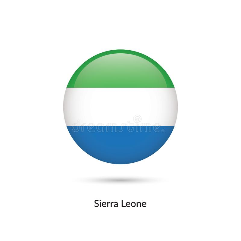 Sierra Leone flagga - rund glansig knapp vektor illustrationer