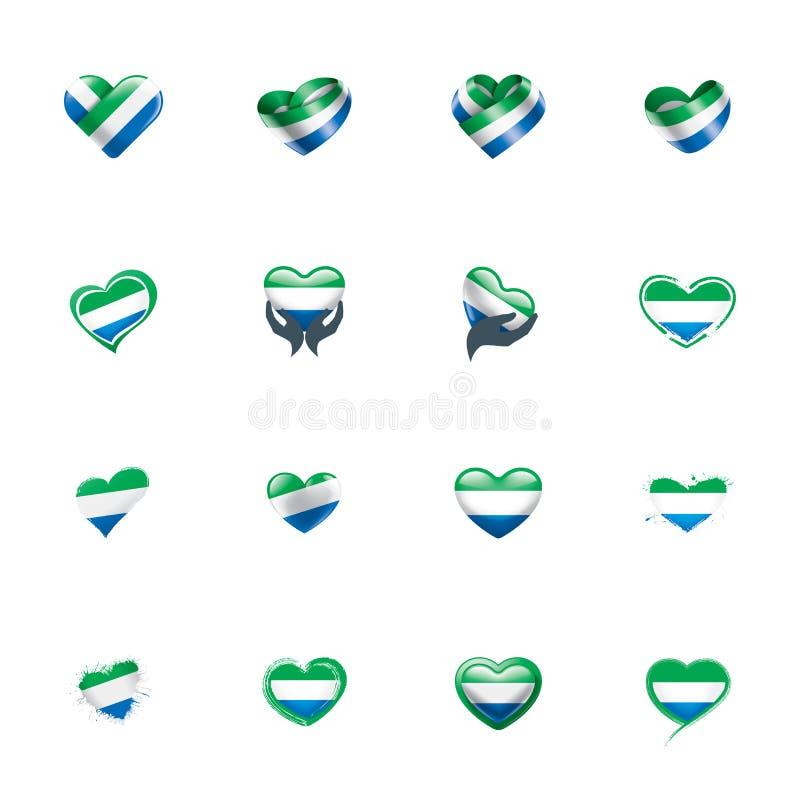 Sierra Leone flagga, vektorillustration på en vit bakgrund stock illustrationer