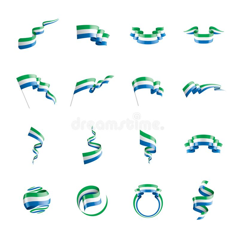 Sierra Leone flagga, vektorillustration på en vit bakgrund royaltyfri illustrationer