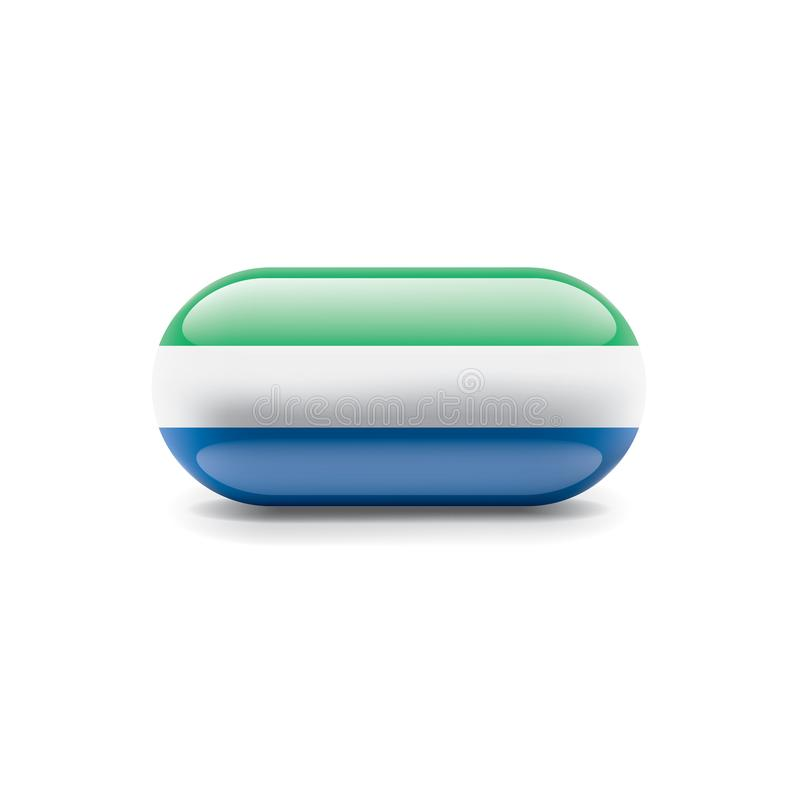 Sierra Leone flagga, vektorillustration p? en vit bakgrund stock illustrationer