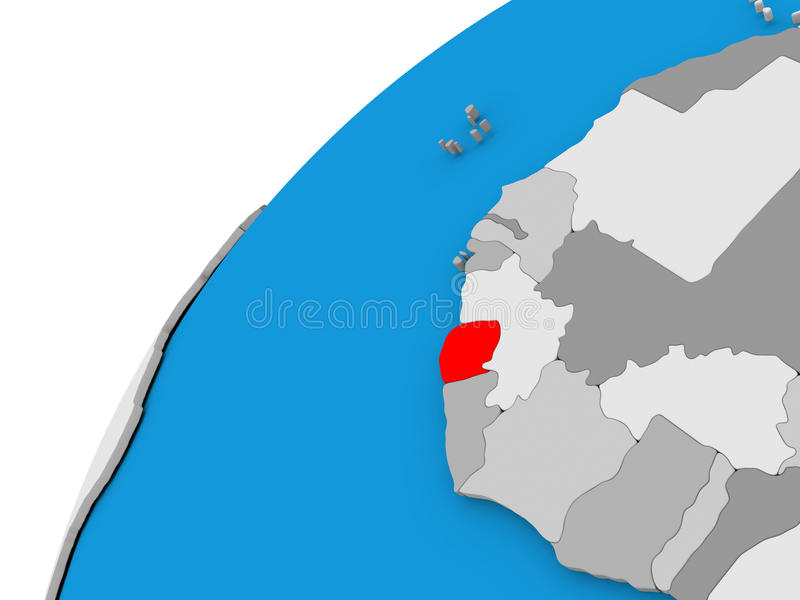 Sierra Leone on globe in red. Sierra Leone highlighted in red on globe with visible country borders. 3D illustration vector illustration