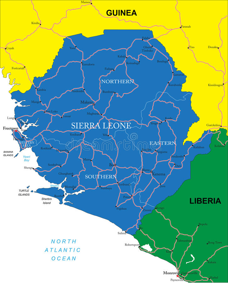 Free Sierra Leone Map Royalty Free Stock Photo - 31897035