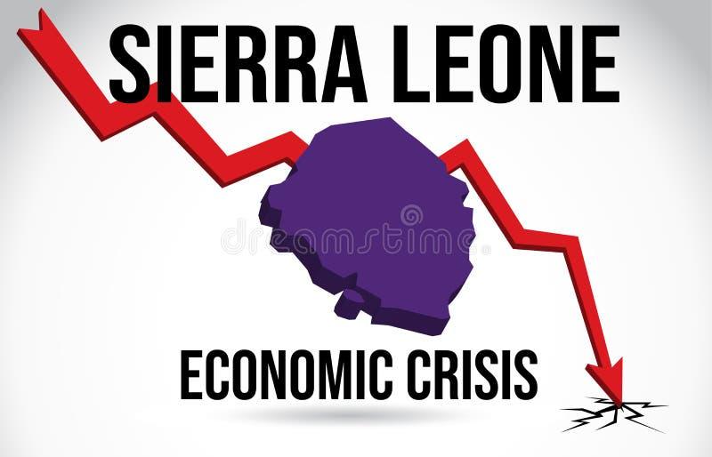 Sierra Leone Map Financial Crisis Economic Collapse Market Crash Global Meltdown Vector. Illustration royalty free illustration