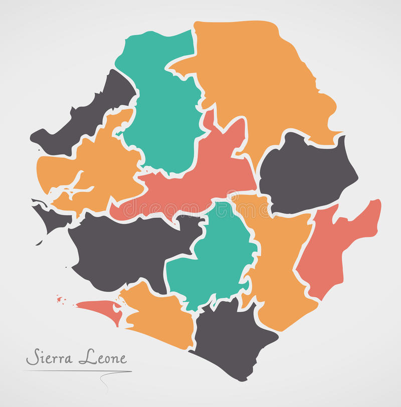 Sierra Leone Map with states and modern round shapes. Illustration vector illustration