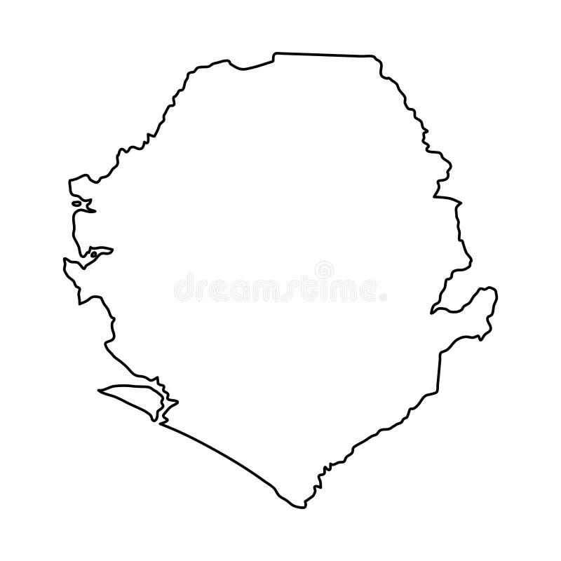 Sierra Leone mapa czerń kontur wygina się na białym tle ilustracja wektor