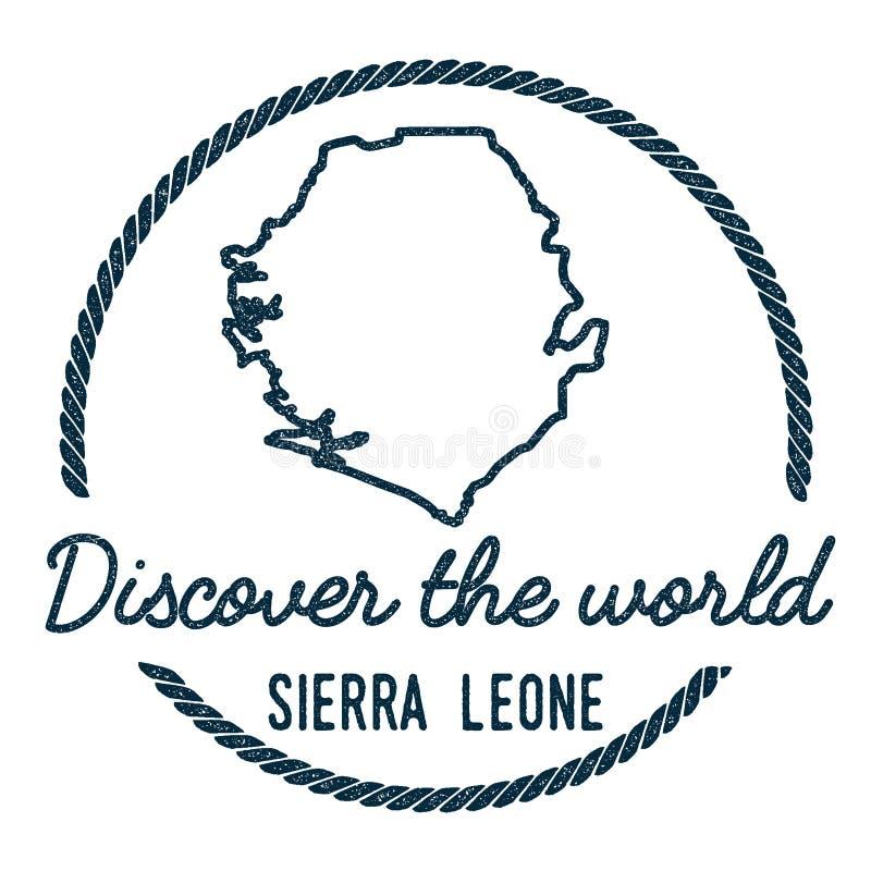 Sierra Leone mapy kontur Rocznik Odkrywa ilustracja wektor