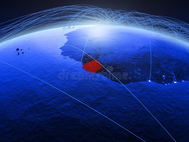 Sierra Leone op blauwe digitale aarde met internationaal netwerk die mededeling, reis en verbindingen vertegenwoordigen 3d stock foto's