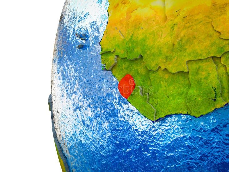 Sierra Leone op 3D Aarde stock foto