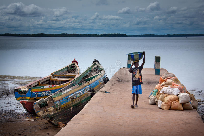 Sierra Leone, Port Loko, West Africa, the beaches of the Bunce I stock images